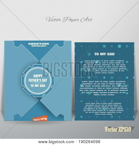 Vector blue greeting paper envelope for Father's Day with label and insert which is leaning against the wall.