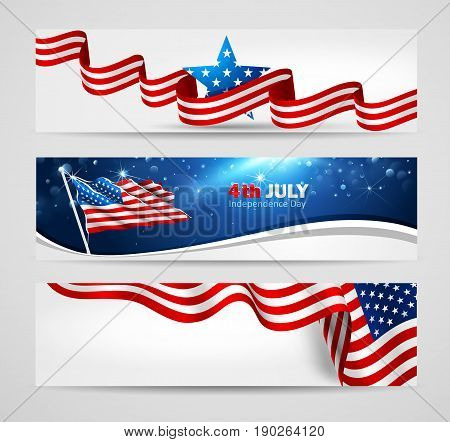Collection of banners for Independence Day USA. Vector illustration
