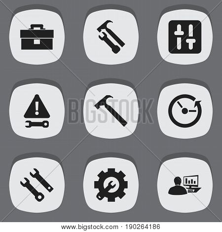 Set Of 9 Editable Toolkit Icons. Includes Symbols Such As Time, Wrench Hammer, Warning And More. Can Be Used For Web, Mobile, UI And Infographic Design.