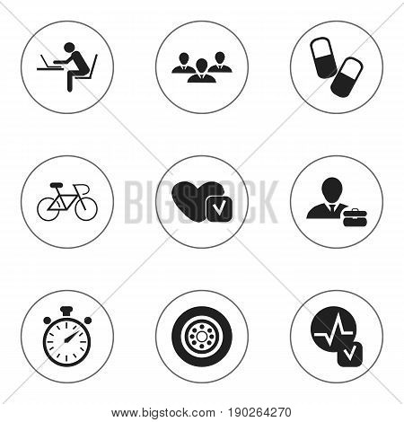 Set Of 9 Editable Mixed Icons. Includes Symbols Such As Velocipede, Heartbeat, Employee And More. Can Be Used For Web, Mobile, UI And Infographic Design.
