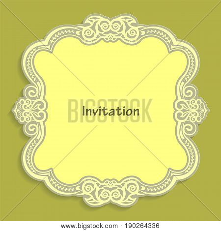 Card template for cutting out paper. A caligraphic gold pattern is made along the edge. Suitable for an invitation to a wedding or other event. Vector billet for laser cutting.