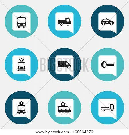 Set Of 9 Editable Transportation Icons. Includes Symbols Such As Tramcar, Streetcar, Haulage And More. Can Be Used For Web, Mobile, UI And Infographic Design.