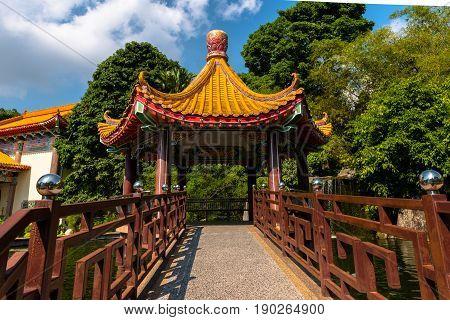 An entranceway to a Chinese Pagoda in Penang Malaysia