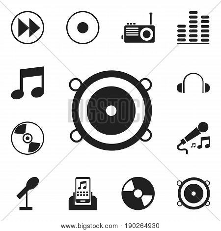 Set Of 12 Editable Mp3 Icons. Includes Symbols Such As Bass Speakers, Journalism Equipment, Earflaps And More. Can Be Used For Web, Mobile, UI And Infographic Design.