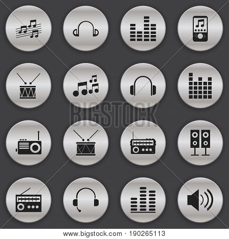 Set Of 16 Editable Melody Icons. Includes Symbols Such As Call Center, Musical Sign, Timpano And More. Can Be Used For Web, Mobile, UI And Infographic Design.