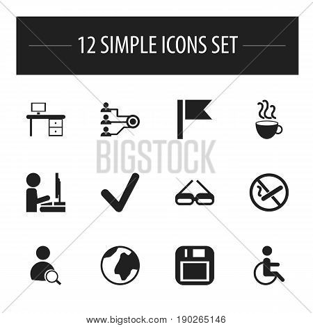 Set Of 12 Editable Bureau Icons. Includes Symbols Such As Architecture, Office Desk, Eyeglasses And More. Can Be Used For Web, Mobile, UI And Infographic Design.