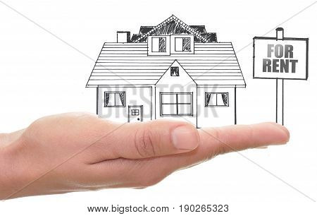 Sketch of a home in a hand with a for rent sign