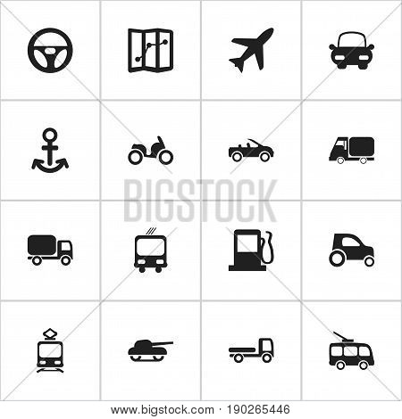 Set Of 16 Editable Shipment Icons. Includes Symbols Such As Tramcar, Service Car, Carriage And More. Can Be Used For Web, Mobile, UI And Infographic Design.