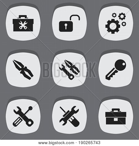 Set Of 9 Editable Mechanic Icons. Includes Symbols Such As Utility, Access, Instrument And More. Can Be Used For Web, Mobile, UI And Infographic Design.
