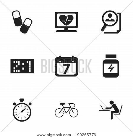 Set Of 9 Editable Mixed Icons. Includes Symbols Such As Velocipede, Date Block, Programmer And More. Can Be Used For Web, Mobile, UI And Infographic Design.
