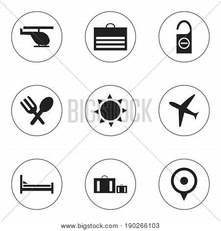 Set Of 9 Editable Travel Icons. Includes Symbols Such As Solar, Trading Purse, Cutlery And More. Can Be Used For Web, Mobile, UI And Infographic Design.