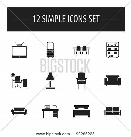 Set Of 12 Editable Interior Icons. Includes Symbols Such As Canape, Restaurant Table, Glim And More. Can Be Used For Web, Mobile, UI And Infographic Design.