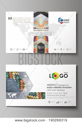 Business card templates. Easy editable layout, abstract vector design template. Tribal pattern, geometrical ornament in ethno syle, ethnic hipster backdrop, vintage fashion background
