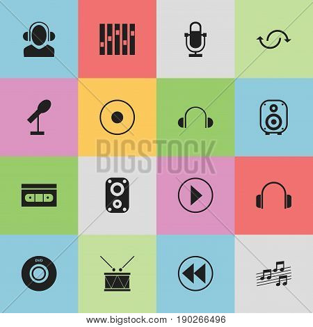 Set Of 16 Editable Multimedia Icons. Includes Symbols Such As Timpano, Sound Amplifier, Rec And More. Can Be Used For Web, Mobile, UI And Infographic Design.