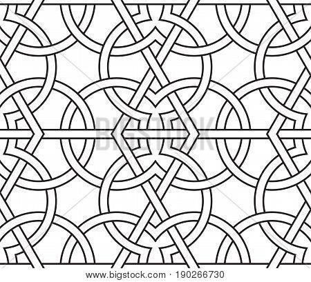 Geometric interlaced pattern. Seamless vector background in arabic style. Islamic art