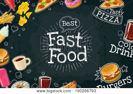 Horizontal poster fast food. Cola, coffee, hamburger, hotdog, fry potato, ketchup, pizza, ice cream, donut. Vector color flat illustration on black chalkboard with vintage engraving lettering, bubble