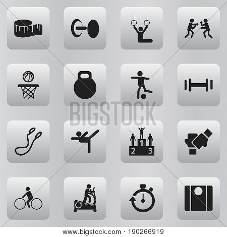Set Of 16 Editable Active Icons. Includes Symbols Such As Competition, Fight, Heft And More. Can Be Used For Web, Mobile, UI And Infographic Design.