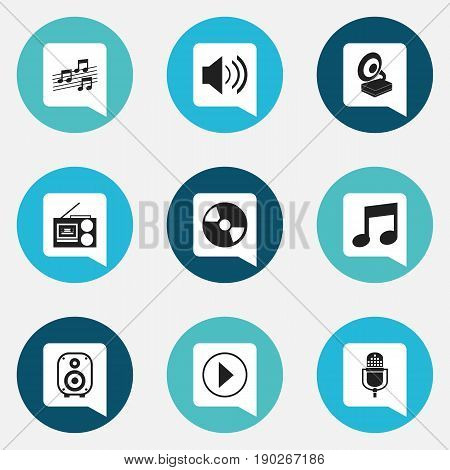 Set Of 9 Editable Melody Icons. Includes Symbols Such As Speaker, Musical Sign, Sound And More. Can Be Used For Web, Mobile, UI And Infographic Design.
