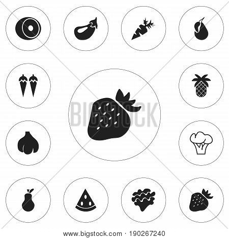 Set Of 12 Editable Berry Icons. Includes Symbols Such As Aubergine, Chili, Root Vegetable And More. Can Be Used For Web, Mobile, UI And Infographic Design.