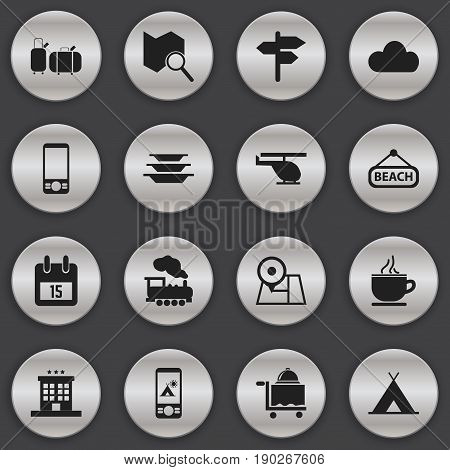 Set Of 16 Editable Trip Icons. Includes Symbols Such As Steam Engine, Luxury Inn, Chopper And More. Can Be Used For Web, Mobile, UI And Infographic Design.