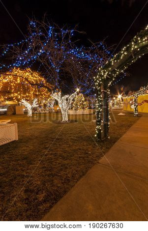 Taunton Massachusetts USA - December 28 2007: Illuminated trees among the Christmas decorations on the Taunton Green in Taunton Massachusetts