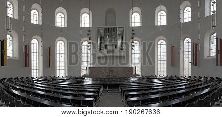 FRANKFURT, GERMANY-JUNE 07, 2017: Interior of the Paulskirche Plenary Hall, upper floor of the Frankfurt Paulskirche, Germany