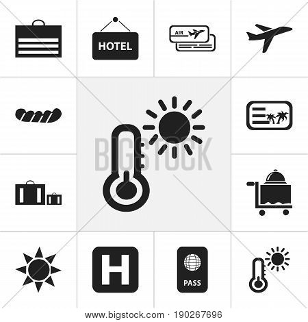 Set Of 12 Editable Holiday Icons. Includes Symbols Such As Bratwurst, Helipad, Trading Purse And More. Can Be Used For Web, Mobile, UI And Infographic Design.