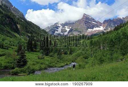 A scenic summer landscape at Maroon Bells Aspen Colorado