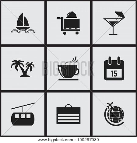 Set Of 9 Editable Journey Icons. Includes Symbols Such As Tree, Globe Trip, Cableway And More. Can Be Used For Web, Mobile, UI And Infographic Design.