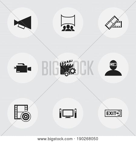 Set Of 9 Editable Cinema Icons. Includes Symbols Such As Spectator, Clapperboard, Outlet And More. Can Be Used For Web, Mobile, UI And Infographic Design.