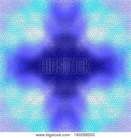 Stain-glass window background VECTOR template. Blue and light blue