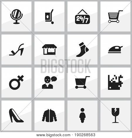 Set Of 16 Editable Trade Icons. Includes Symbols Such As Steam Iron, Heel Cothurnus, Looking-Glass And More. Can Be Used For Web, Mobile, UI And Infographic Design.