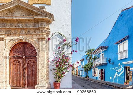 Cartagena, Colombia- March 2, 2017:Colorful houses in the old town Cartagena Colombia