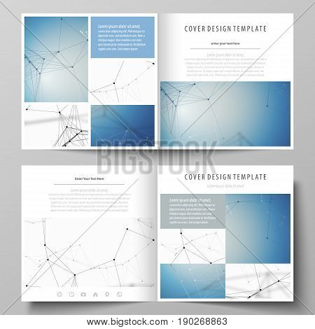 Business templates for square design bi fold brochure, magazine, flyer, booklet or annual report. Leaflet cover, abstract flat layout, easy editable vector. Geometric blue color background, molecule structure, science concept. Connected lines and dots.