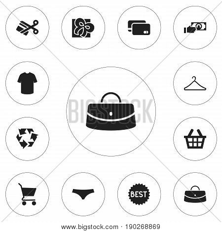 Set Of 12 Editable Trade Icons. Includes Symbols Such As Basket, Reticule, Boy Blouse And More. Can Be Used For Web, Mobile, UI And Infographic Design.