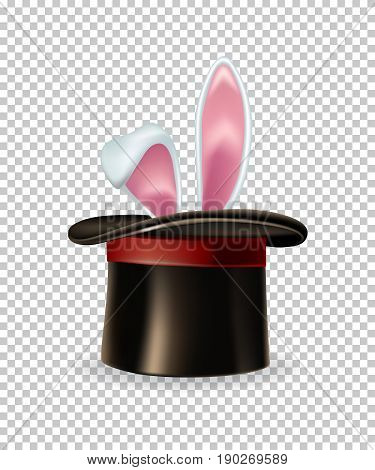 Rabbit ears appear from the magic hat isolated on transparent background. Vector illustration.