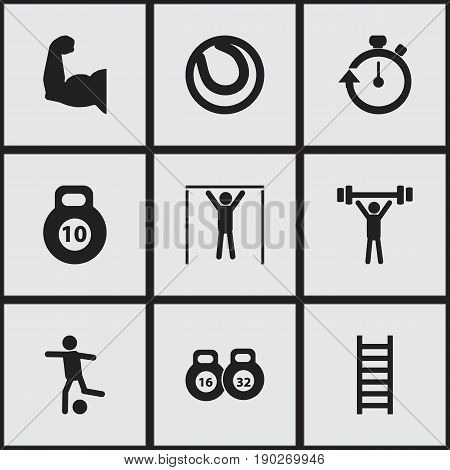 Set Of 9 Editable Sport Icons. Includes Symbols Such As Strength, Bodybuilding, Street Workout And More. Can Be Used For Web, Mobile, UI And Infographic Design.