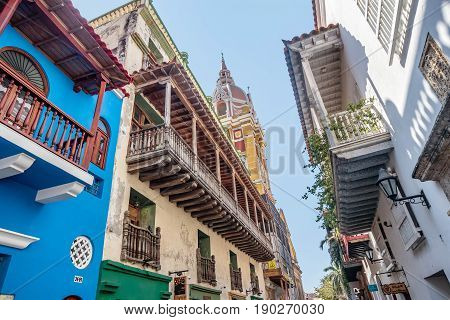 Colorful houses in the old town Cartagena Colombia