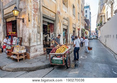 Cartagena, Colombia- March 2, 2017:Street vendors in the old town Cartagena Colombia