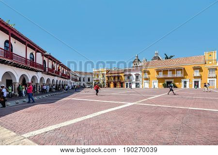 Cartagena, Colombia- March 2, 2017:Buildings in the old town Cartagena Colombia