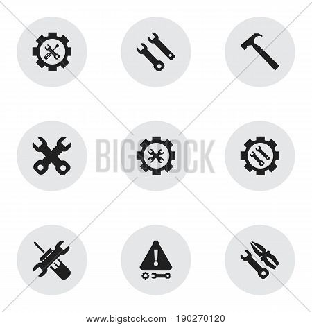 Set Of 9 Editable Toolkit Icons. Includes Symbols Such As Spanner , Handle Hit, Caution. Can Be Used For Web, Mobile, UI And Infographic Design.