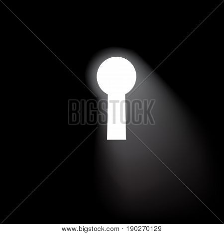 Keyhole window background. Vector black concept illustration.