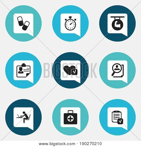 Set Of 9 Editable Complex Icons. Includes Symbols Such As Soul, First Aid Box, Drug And More. Can Be Used For Web, Mobile, UI And Infographic Design.