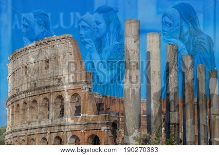 ALBA IULIA ROMANIA - APRIL 29 2017: Double exposure with view outside the Colosseum and young Roman girls in antical theatrical scene at APULUM ROMAN FESTIVAL organized by the City Hall.