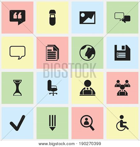 Set Of 16 Editable Office Icons. Includes Symbols Such As Usb, Magnifier, Handicapped. Can Be Used For Web, Mobile, UI And Infographic Design.