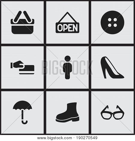 Set Of 9 Editable Trade Icons. Includes Symbols Such As Spectacles, Disbursement, Sewing And More. Can Be Used For Web, Mobile, UI And Infographic Design.