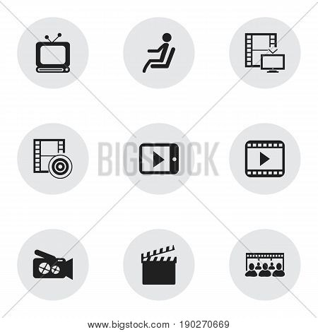 Set Of 9 Editable Filming Icons. Includes Symbols Such As Television, Broadcast, Portable Camera And More. Can Be Used For Web, Mobile, UI And Infographic Design.