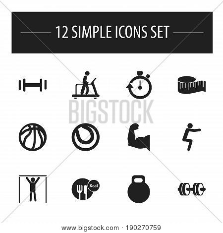 Set Of 12 Editable Sport Icons. Includes Symbols Such As Biceps, Barbell, Basket Play And More. Can Be Used For Web, Mobile, UI And Infographic Design.