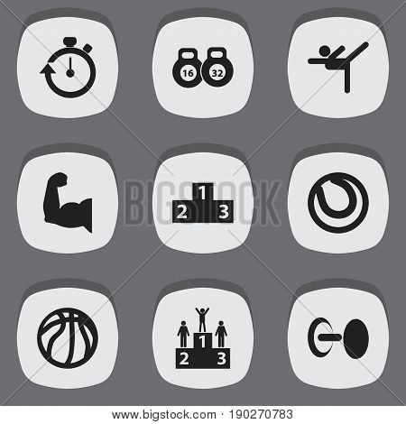 Set Of 9 Editable Training Icons. Includes Symbols Such As Weightlifting, Biceps, Acrobatics And More. Can Be Used For Web, Mobile, UI And Infographic Design.
