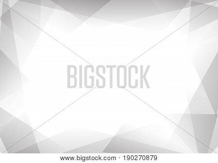 grey and white geometric prism abstract background, white  transparent layout, modern business template, vector illustration